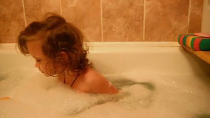 little girl bath