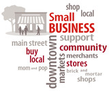 Small Business Word Cloud. Shop local community stores.
