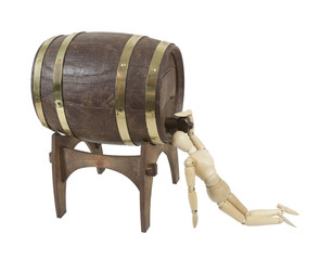 Drinking Straight from Wooden Barrel on Stand