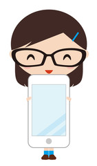 スマートフォンを持つ女の子