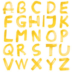 High resolution yellow hand painted font set isolated on white