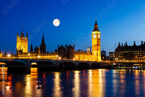 Full Moon above Big Ben and House of Parliament, London, United