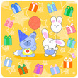 Happy birtday with cute animals and gifts