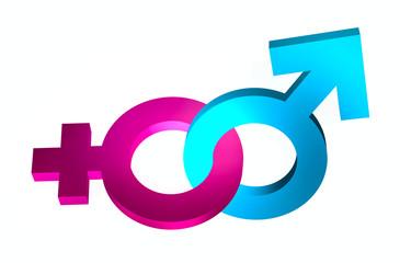 bounded gender signs 3d