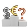 Golden dollar, silver euro and bronze question mark