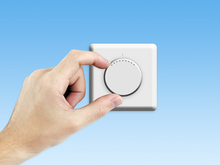 Thermostat with blue background