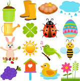 A colorful set of cute Vector Icons : Spring SeasonTheme