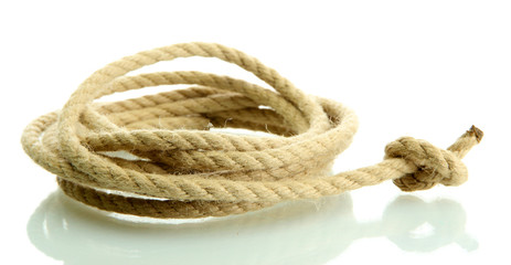 roll of rope with knot, isolated on white