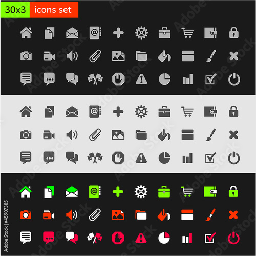 Set of  most popular icons on the web