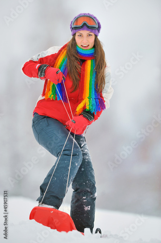 girl on board in winter time