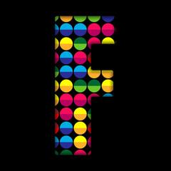 Alphabet Dots Color on Black Background F