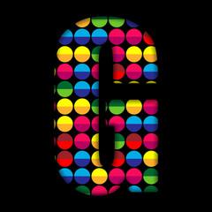 Alphabet Dots Color on Black Background G