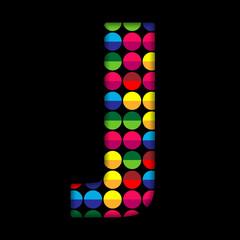 Alphabet Dots Color on Black Background J