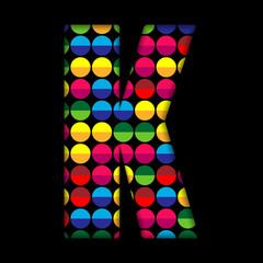 Alphabet Dots Color on Black Background K