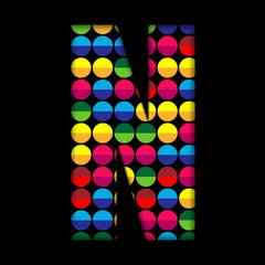 Alphabet Dots Color on Black Background N