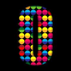 Alphabet Dots Color on Black Background O