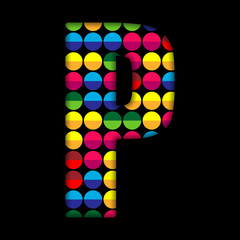 Alphabet Dots Color on Black Background P