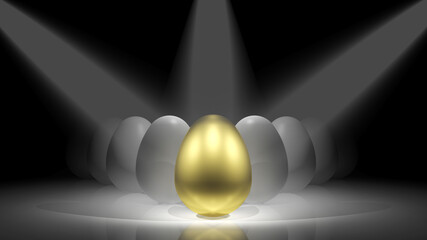 Gold egg in front of white eggs on the stage