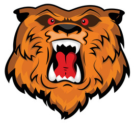 Aggressive and Angry Bear Head Mascot