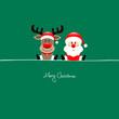 Sitting Rudolph & Santa Green