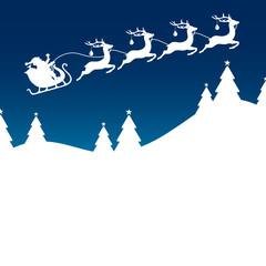 Xmas Card Christmas Sleigh Silent Night Blue