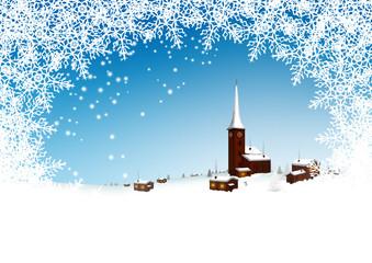 Winterlandschaft, Dorf, Bergdorf, verschneit, zugeschneit, Eis