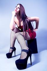 Beautiful girl wearing high heel shoes