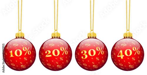 Weihnachtskugeln, Rabatt, 10, 20, 30, 40, Prozent, %, Angebot