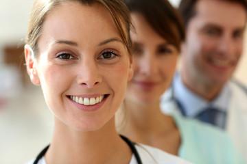 Smiling medical team in uniform