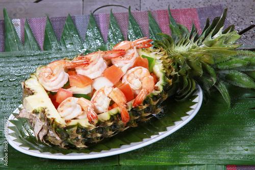 fresh  seafood salad in pineapple.