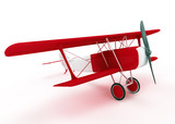 red and white biplane isolated on white background