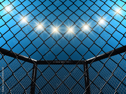 Fight cage and floodlights , 3d illustration
