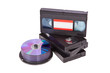 Old Video Cassette tapes with a DVD disc isolated