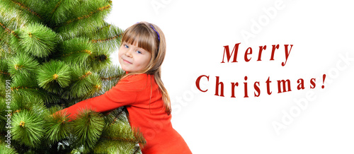 Girl embraces a green pine on white background