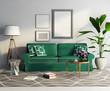 Contemporary elegant green sofa, fresh living room