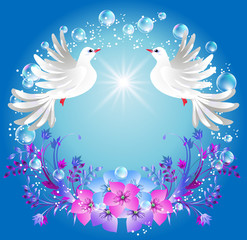 Two doves and flowers