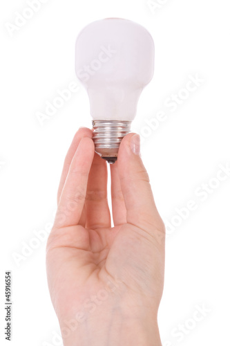 Hand holding an incandescent light bulb isolated on white
