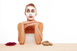 Woman sitting in a face mask