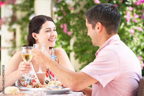 Couple Enjoying Meal outdoorss