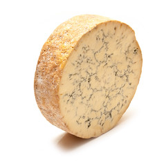 Stilton cheese isolated on a white studio background.