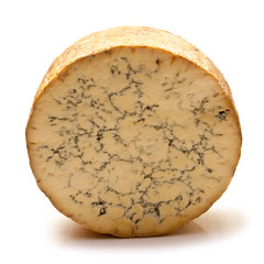 Stilton cheese on a white studio background.