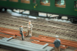 miniature model railroad workers - shallow d.o.f.