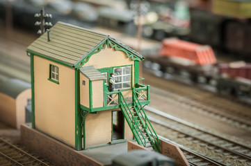 signal box on a miniature model railway - shallow d.o.f.