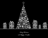 Fototapety Crisrmass tree with cristmass gift boxes. Vector