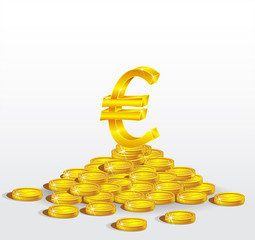 Symbol of Gold  Euro with coins.  The concept of profit