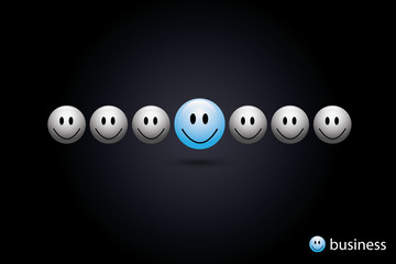 Business concept blue smiley link vector eps10