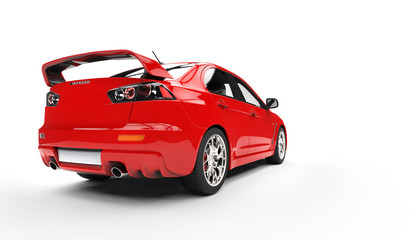 Red Rally Car Rear View