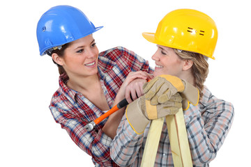 Two female construction workers