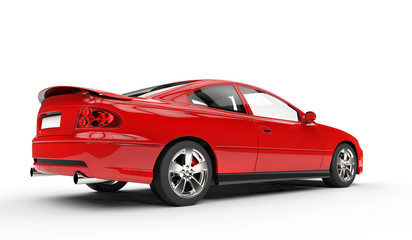 Red Sports Car Rear Side View