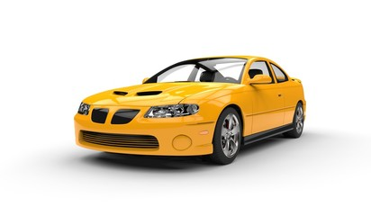 Yellow Sports Car Front Side View